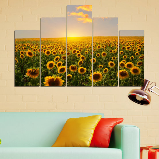 Canvas prints & wall decorative panels - 5 pieces №0040 » Green, Brown, Black, Gray, Beige » Flowers, Nature, Sun, Sky, Sunflower, Field Form #5