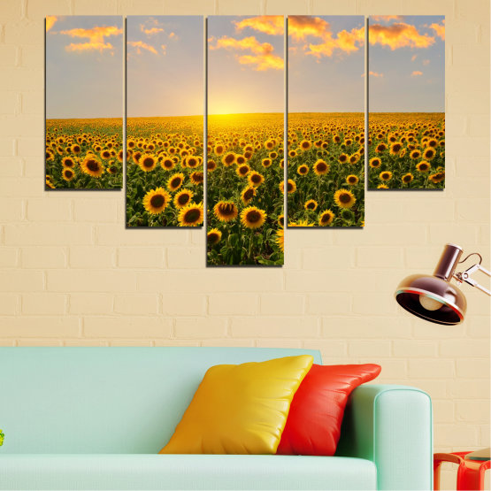 Canvas prints & wall decorative panels - 5 pieces №0040 » Green, Brown, Black, Gray, Beige » Flowers, Nature, Sun, Sky, Sunflower, Field Form #6