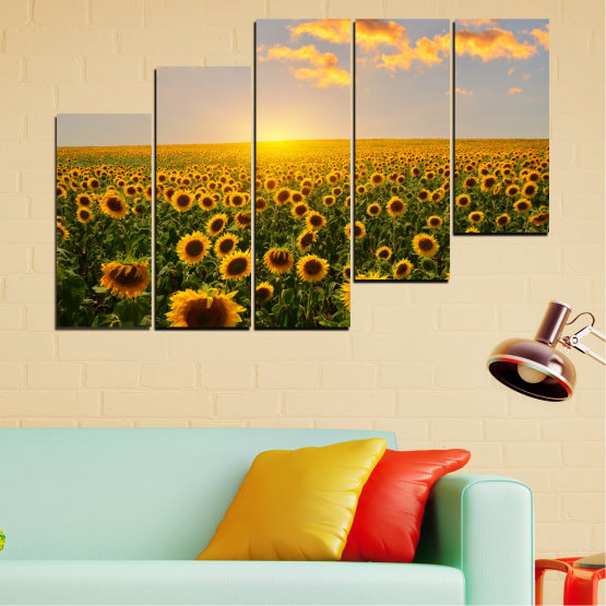 Canvas prints & wall decorative panels - 5 pieces №0040 » Green, Brown, Black, Gray, Beige » Flowers, Nature, Sun, Sky, Sunflower, Field Form #8