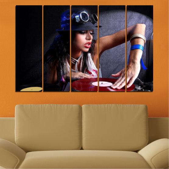 Canvas prints & wall decorative panels - 5 pieces №0400 » Purple, Brown, Black, Gray, Dark grey » Woman, Fashion, Music, Dj Form #2