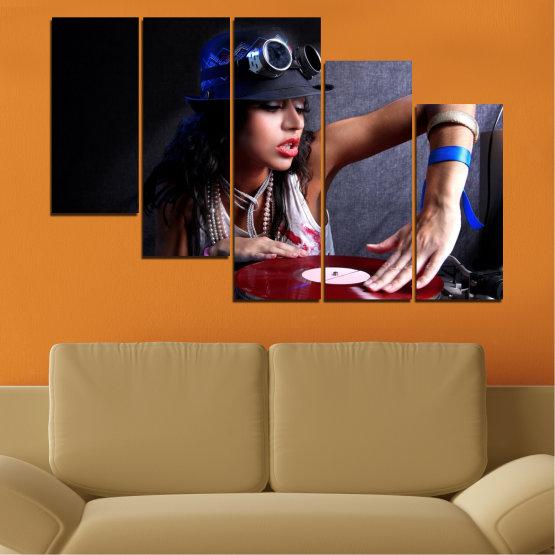 Декоративни панели и картини от канава - от 5 части №0400 » Лилав, Кафяв, Черен, Сив, Тъмно сив » Жена, Мода, Музика, Ди джей Form #7