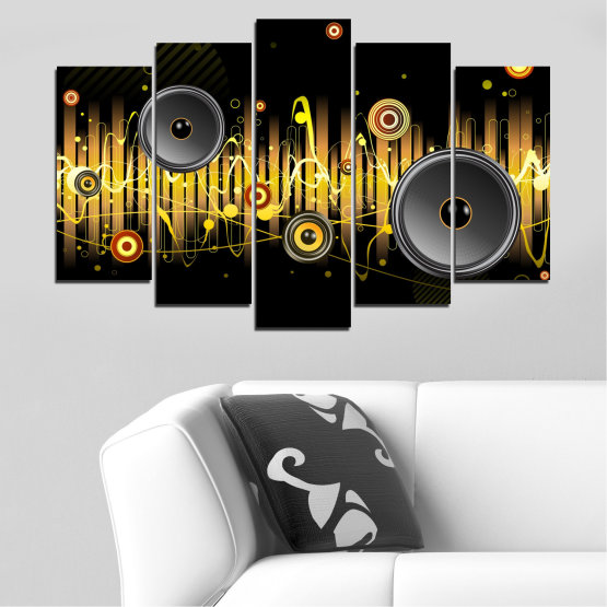 Canvas prints & wall decorative panels - 5 pieces №0401 » Green, Brown, Black, Dark grey » Abstraction, Collage, Music Form #1