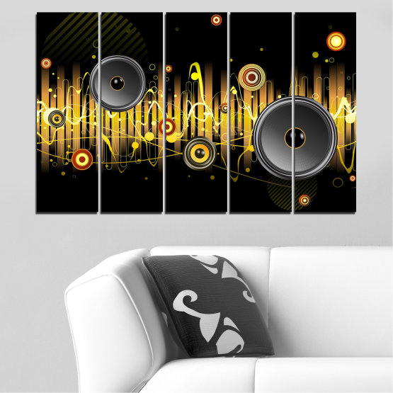 Canvas prints & wall decorative panels - 5 pieces №0401 » Green, Brown, Black, Dark grey » Abstraction, Collage, Music Form #2