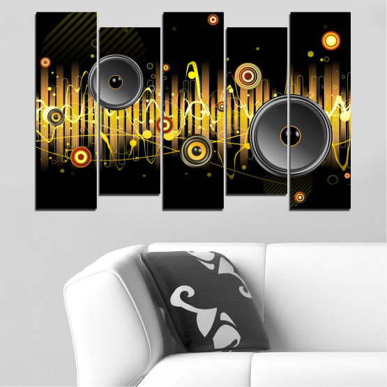 Canvas prints & wall decorative panels - 5 pieces №0401 » Green, Brown, Black, Dark grey » Abstraction, Collage, Music Form #3