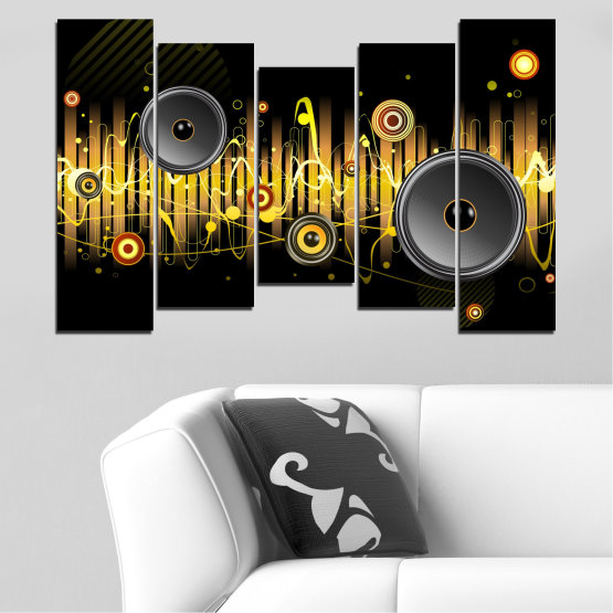 Canvas prints & wall decorative panels - 5 pieces №0401 » Green, Brown, Black, Dark grey » Abstraction, Collage, Music Form #4