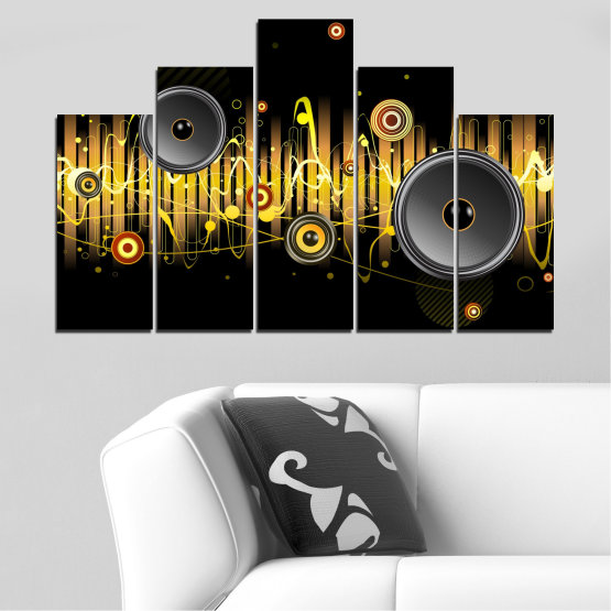Canvas prints & wall decorative panels - 5 pieces №0401 » Green, Brown, Black, Dark grey » Abstraction, Collage, Music Form #5