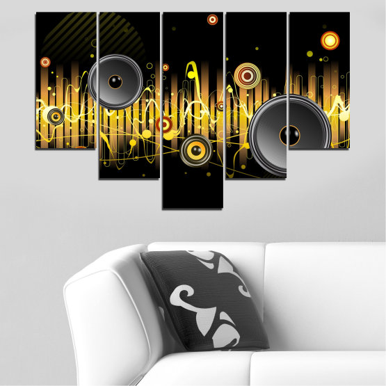 Canvas prints & wall decorative panels - 5 pieces №0401 » Green, Brown, Black, Dark grey » Abstraction, Collage, Music Form #6
