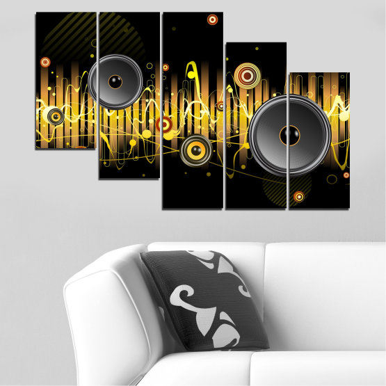 Canvas prints & wall decorative panels - 5 pieces №0401 » Green, Brown, Black, Dark grey » Abstraction, Collage, Music Form #7
