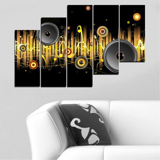 Canvas prints & wall decorative panels - 5 pieces №0401 » Green, Brown, Black, Dark grey » Abstraction, Collage, Music Form #8