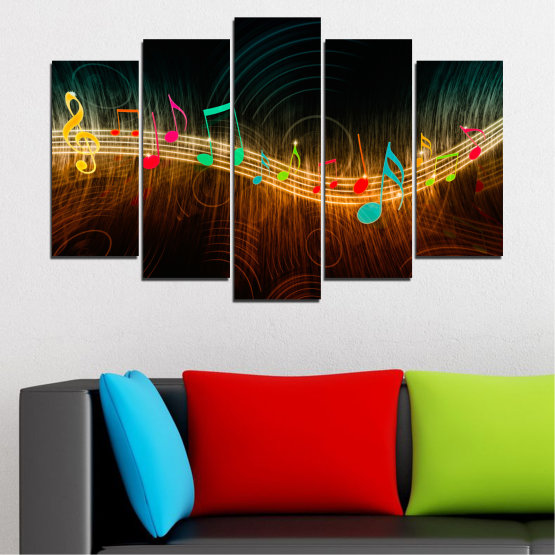 Canvas prints & wall decorative panels - 5 pieces №0402 » Red, Brown, Black, Dark grey » Abstraction, Music, Note Form #1