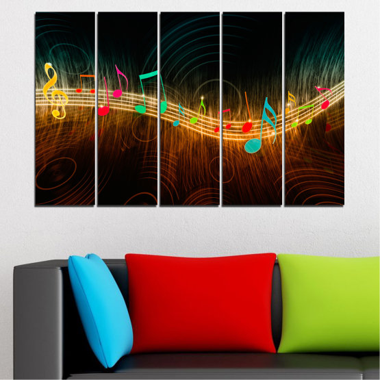 Canvas prints & wall decorative panels - 5 pieces №0402 » Red, Brown, Black, Dark grey » Abstraction, Music, Note Form #2