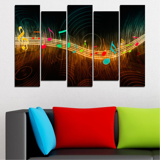 Canvas prints & wall decorative panels - 5 pieces №0402 » Red, Brown, Black, Dark grey » Abstraction, Music, Note Form #3