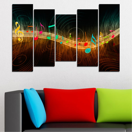 Canvas prints & wall decorative panels - 5 pieces №0402 » Red, Brown, Black, Dark grey » Abstraction, Music, Note Form #4