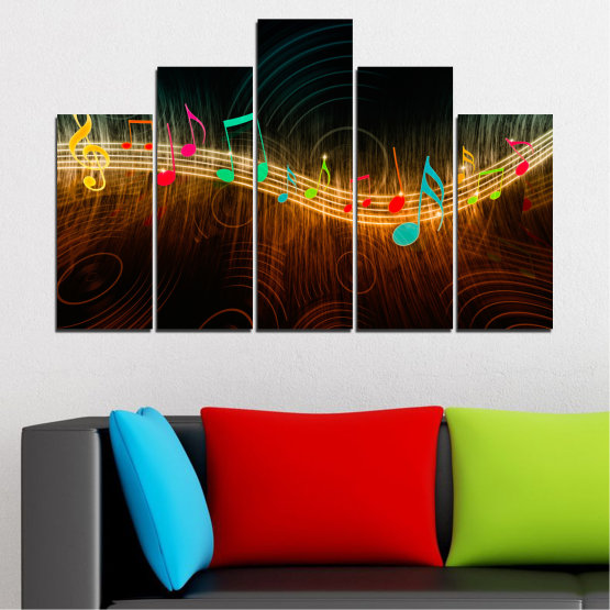 Canvas prints & wall decorative panels - 5 pieces №0402 » Red, Brown, Black, Dark grey » Abstraction, Music, Note Form #5