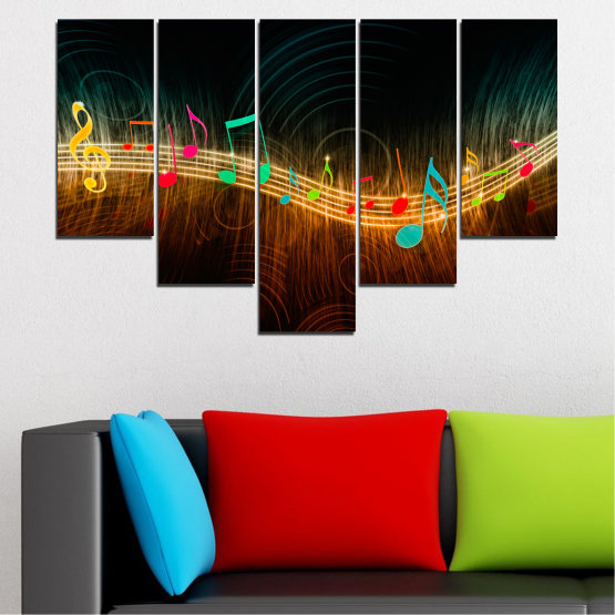 Canvas prints & wall decorative panels - 5 pieces №0402 » Red, Brown, Black, Dark grey » Abstraction, Music, Note Form #6