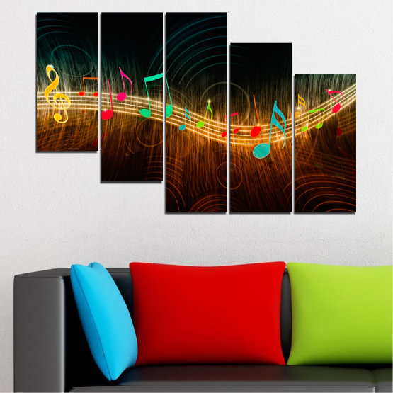 Canvas prints & wall decorative panels - 5 pieces №0402 » Red, Brown, Black, Dark grey » Abstraction, Music, Note Form #7