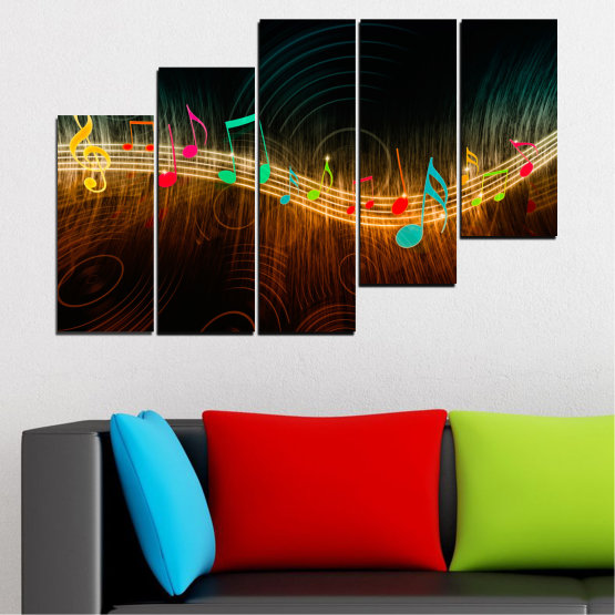 Canvas prints & wall decorative panels - 5 pieces №0402 » Red, Brown, Black, Dark grey » Abstraction, Music, Note Form #8