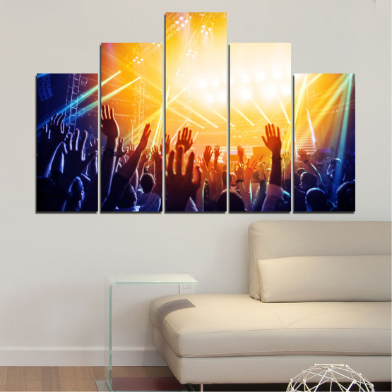 Canvas prints & wall decorative panels - 5 pieces №0403 » Yellow, Black, White, Beige, Dark grey » Lights, Music, Concert Form #5