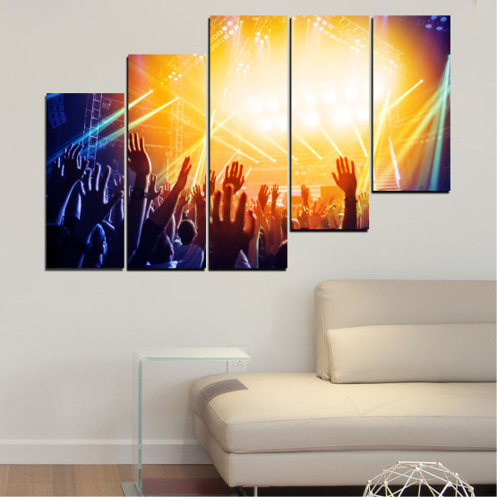 Canvas prints & wall decorative panels - 5 pieces №0403 » Yellow, Black, White, Beige, Dark grey » Lights, Music, Concert Form #8