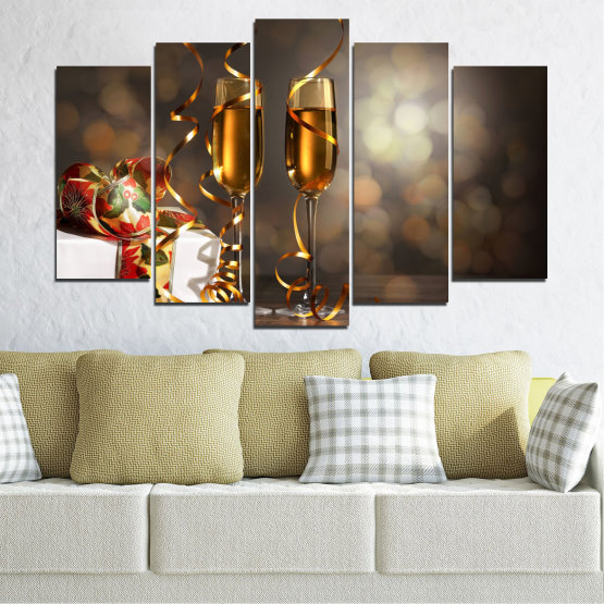 Canvas prints & wall decorative panels - 5 pieces №0404 » Brown, Black, Gray, Dark grey » Shine, Christmas, Holiday Form #1