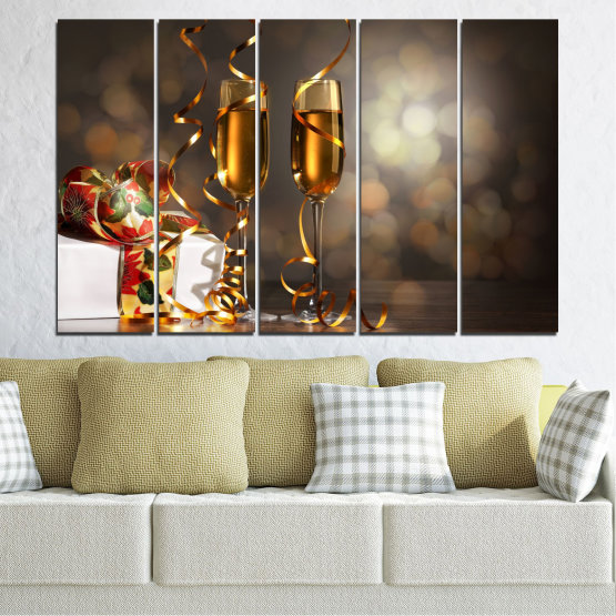 Canvas prints & wall decorative panels - 5 pieces №0404 » Brown, Black, Gray, Dark grey » Shine, Christmas, Holiday Form #2