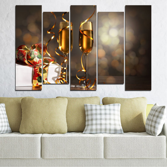 Canvas prints & wall decorative panels - 5 pieces №0404 » Brown, Black, Gray, Dark grey » Shine, Christmas, Holiday Form #3