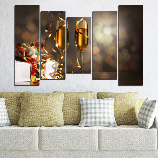 Canvas prints & wall decorative panels - 5 pieces №0404 » Brown, Black, Gray, Dark grey » Shine, Christmas, Holiday Form #4