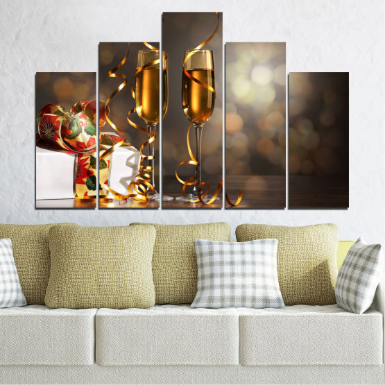 Canvas prints & wall decorative panels - 5 pieces №0404 » Brown, Black, Gray, Dark grey » Shine, Christmas, Holiday Form #5