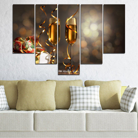 Canvas prints & wall decorative panels - 5 pieces №0404 » Brown, Black, Gray, Dark grey » Shine, Christmas, Holiday Form #6