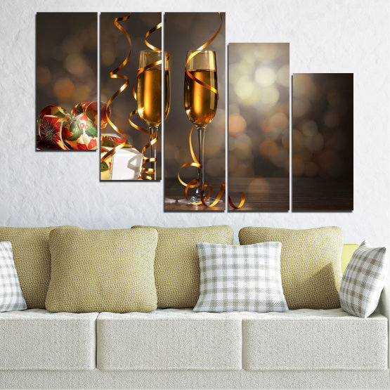 Canvas prints & wall decorative panels - 5 pieces №0404 » Brown, Black, Gray, Dark grey » Shine, Christmas, Holiday Form #7