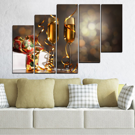 Canvas prints & wall decorative panels - 5 pieces №0404 » Brown, Black, Gray, Dark grey » Shine, Christmas, Holiday Form #8