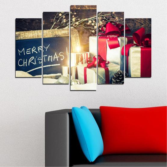 Декоративни панели и картини от канава - от 5 части №0405 » Черен, Сив, Бял, Бежов, Тъмно сив » Подарък, Коледа, Празник Form #1