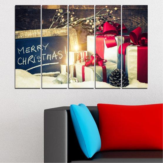 Декоративни панели и картини от канава - от 5 части №0405 » Черен, Сив, Бял, Бежов, Тъмно сив » Подарък, Коледа, Празник Form #2