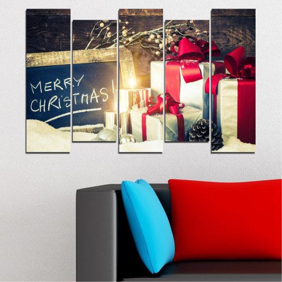 Декоративни панели и картини от канава - от 5 части №0405 » Черен, Сив, Бял, Бежов, Тъмно сив » Подарък, Коледа, Празник Form #3