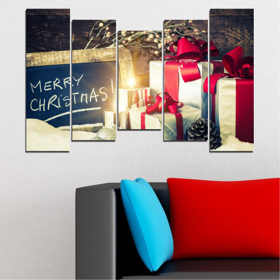 Декоративни панели и картини от канава - от 5 части №0405 » Черен, Сив, Бял, Бежов, Тъмно сив » Подарък, Коледа, Празник Form #4