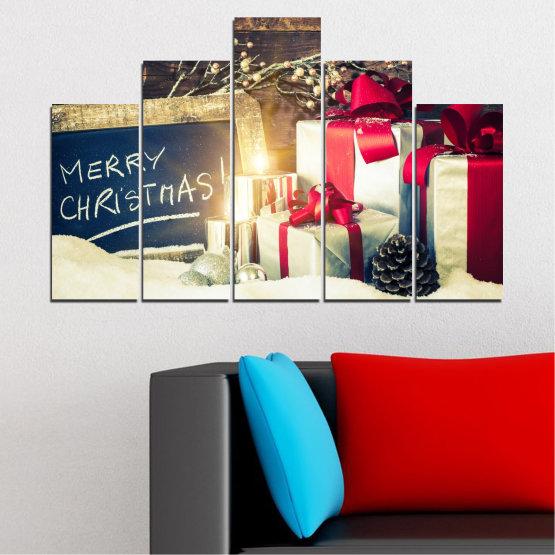 Декоративни панели и картини от канава - от 5 части №0405 » Черен, Сив, Бял, Бежов, Тъмно сив » Подарък, Коледа, Празник Form #5