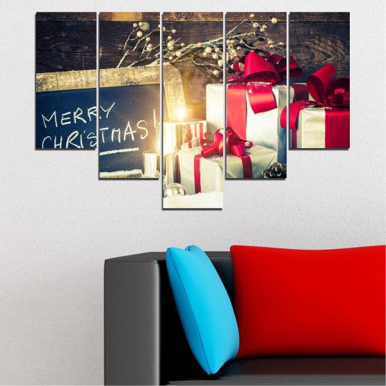 Декоративни панели и картини от канава - от 5 части №0405 » Черен, Сив, Бял, Бежов, Тъмно сив » Подарък, Коледа, Празник Form #6