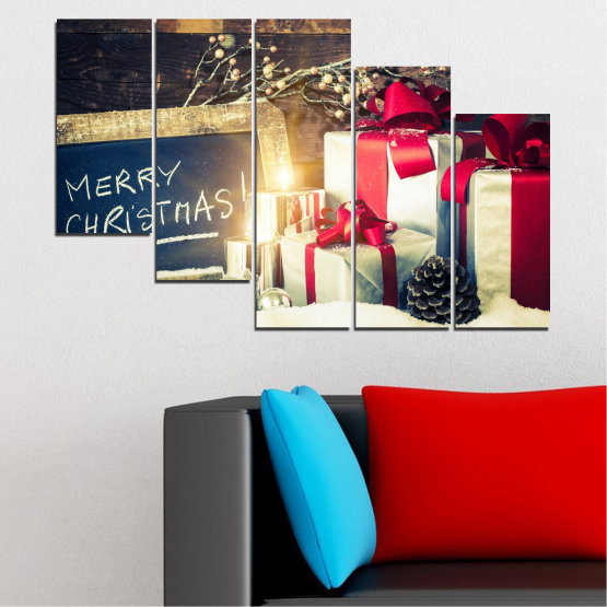 Декоративни панели и картини от канава - от 5 части №0405 » Черен, Сив, Бял, Бежов, Тъмно сив » Подарък, Коледа, Празник Form #7