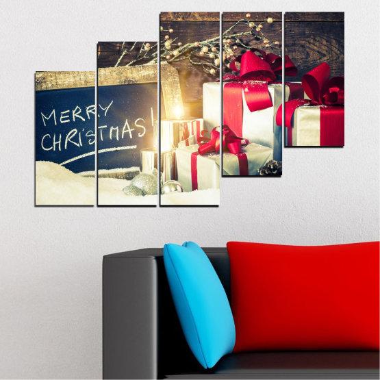 Декоративни панели и картини от канава - от 5 части №0405 » Черен, Сив, Бял, Бежов, Тъмно сив » Подарък, Коледа, Празник Form #8