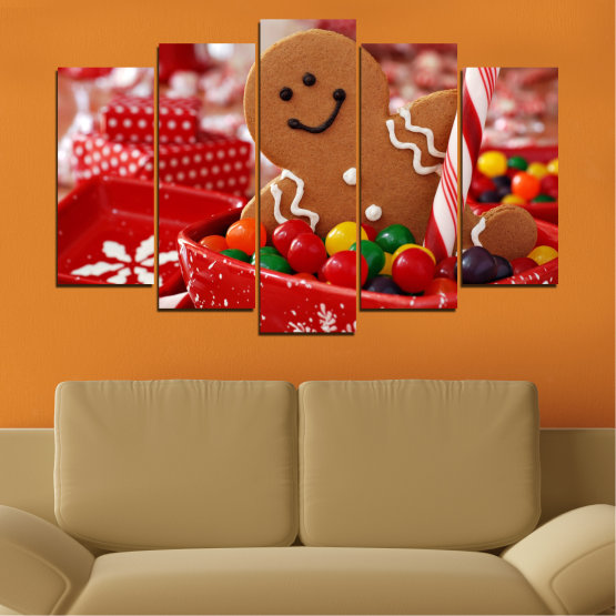 Canvas prints & wall decorative panels - 5 pieces №0407 » Red, Orange, Brown » Coockie, Christmas, Holiday Form #1
