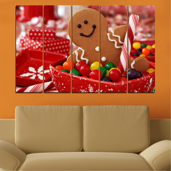 Canvas prints & wall decorative panels - 5 pieces №0407 » Red, Orange, Brown » Coockie, Christmas, Holiday Form #2