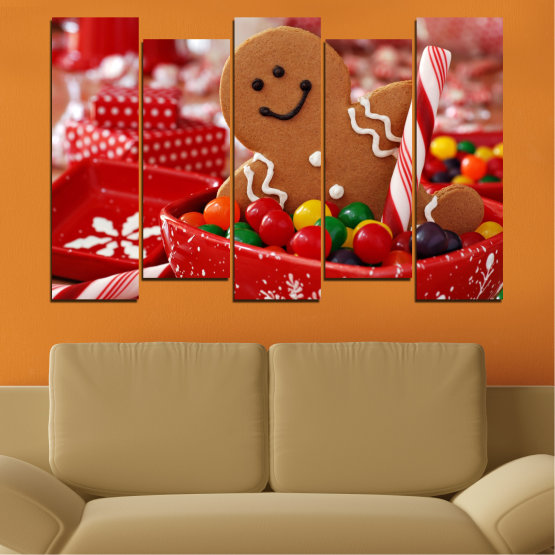 Canvas prints & wall decorative panels - 5 pieces №0407 » Red, Orange, Brown » Coockie, Christmas, Holiday Form #3
