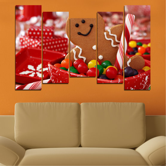 Canvas prints & wall decorative panels - 5 pieces №0407 » Red, Orange, Brown » Coockie, Christmas, Holiday Form #4