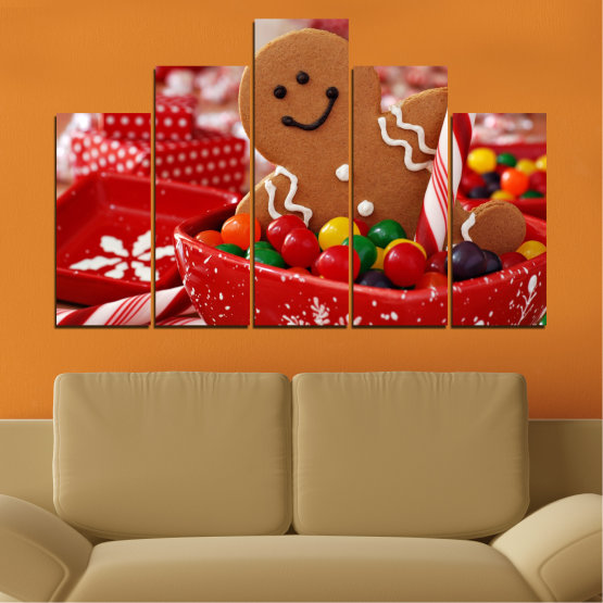 Canvas prints & wall decorative panels - 5 pieces №0407 » Red, Orange, Brown » Coockie, Christmas, Holiday Form #5