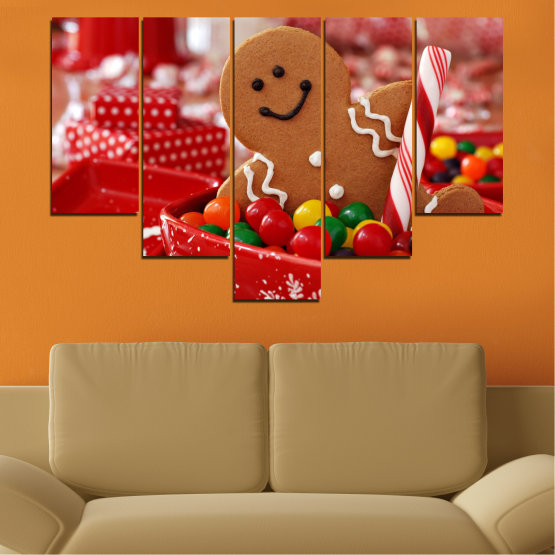 Canvas prints & wall decorative panels - 5 pieces №0407 » Red, Orange, Brown » Coockie, Christmas, Holiday Form #6