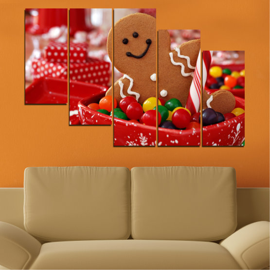 Canvas prints & wall decorative panels - 5 pieces №0407 » Red, Orange, Brown » Coockie, Christmas, Holiday Form #7