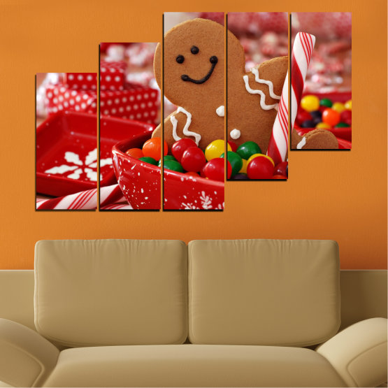 Canvas prints & wall decorative panels - 5 pieces №0407 » Red, Orange, Brown » Coockie, Christmas, Holiday Form #8