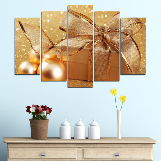 Canvas prints & wall decorative panels - 5 pieces №0408 » Green, Orange, Brown, Beige » Gift, Christmas, Holiday Form #1