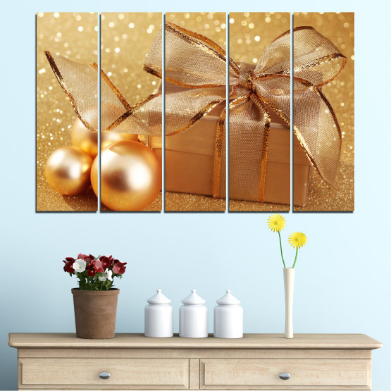 Canvas prints & wall decorative panels - 5 pieces №0408 » Green, Orange, Brown, Beige » Gift, Christmas, Holiday Form #2