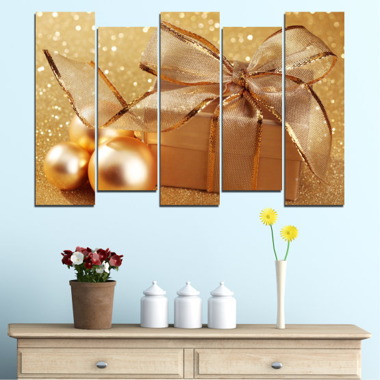 Canvas prints & wall decorative panels - 5 pieces №0408 » Green, Orange, Brown, Beige » Gift, Christmas, Holiday Form #3